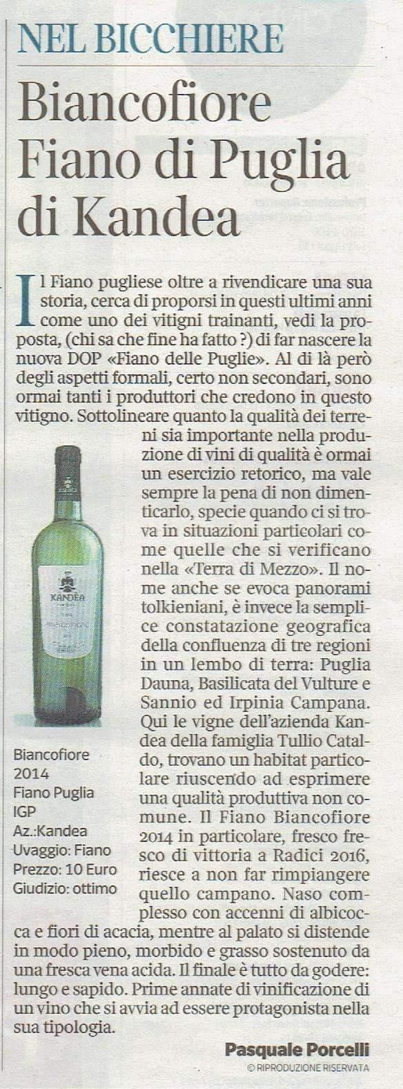 """""""BIANCOFIORE from Terra di Mezzo"""" :     a tasty Fiano Wine!"""