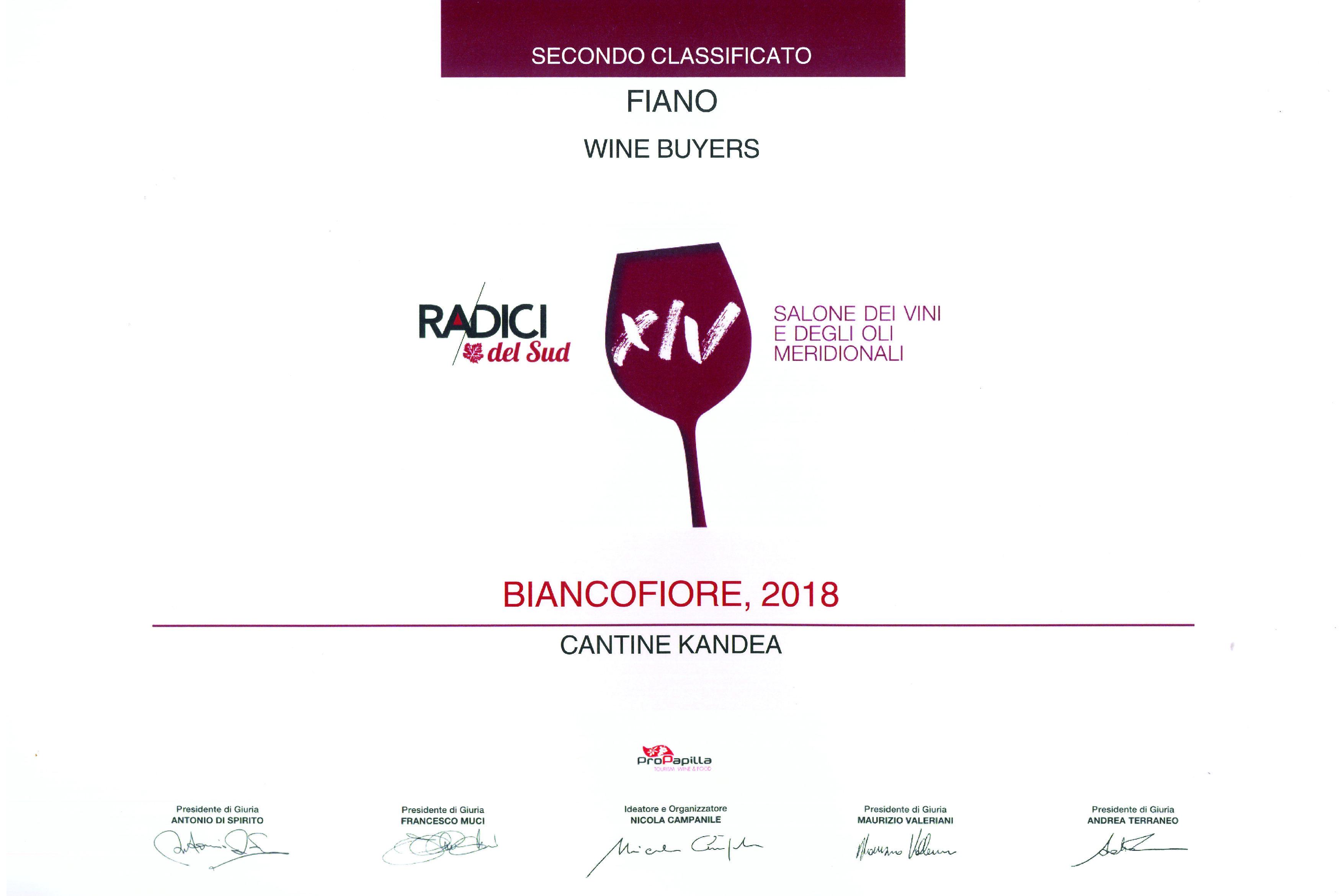 BIANCOFIORE 2018 - 2° vino premiato RADICI 2019