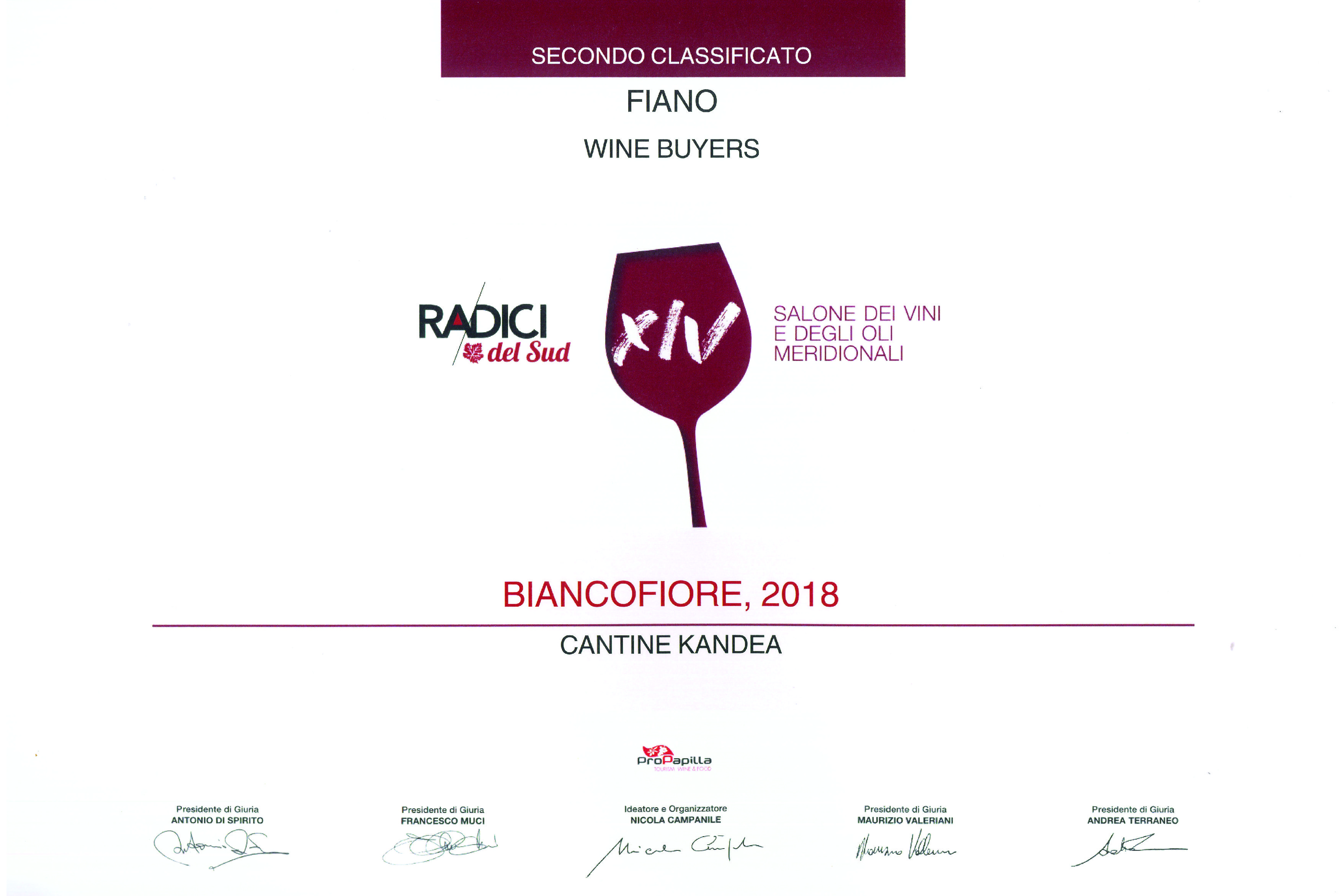 "BIANCOFIORE AWARDED in ""Radici"" competition"