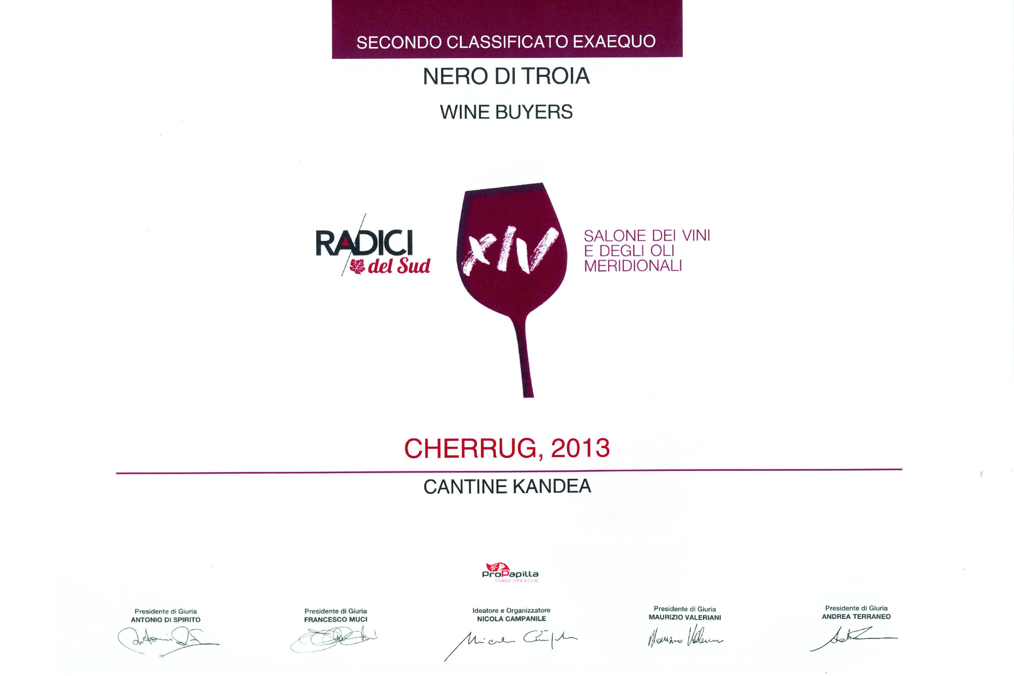 CHERRUG 2013 - 1° vino premiato RADICI 2019