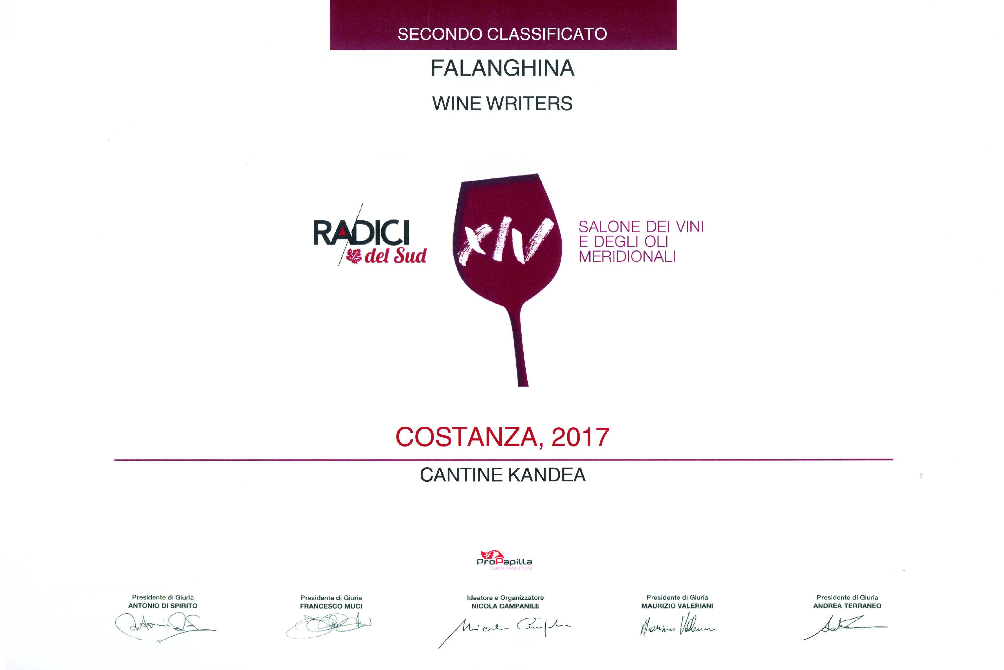 COSTANZA 2017 - 3° vino premiato RADICI 2019